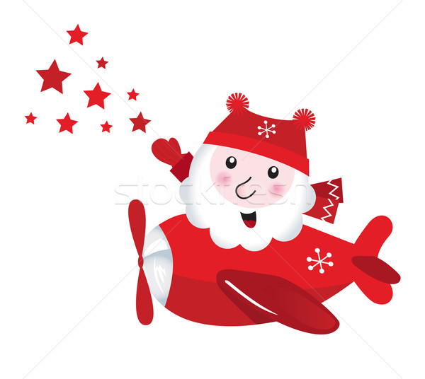 Cute flying Santa touching christmas Stars isolated on white