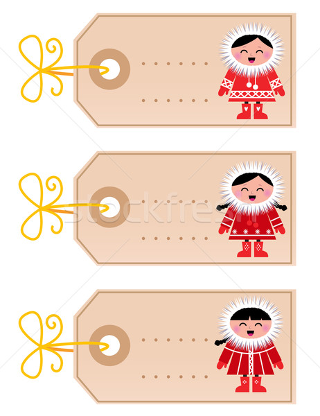 Christmas blank tags with eskimo kids isolated on white Stock photo © lordalea