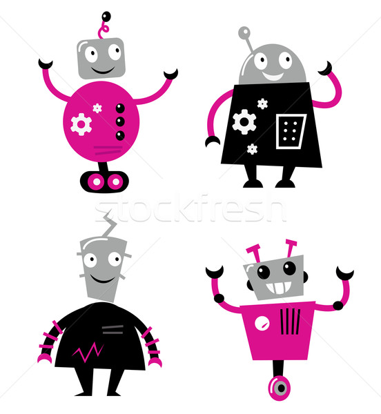 Cute retro robots set isolated on white ( pink and black ) Stock photo © lordalea
