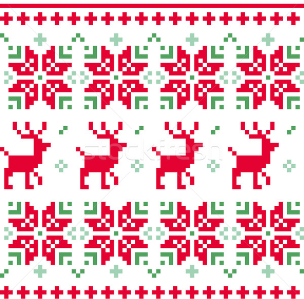 Nordic seamless knitted christmas pattern vector ( red and green Stock photo © lordalea