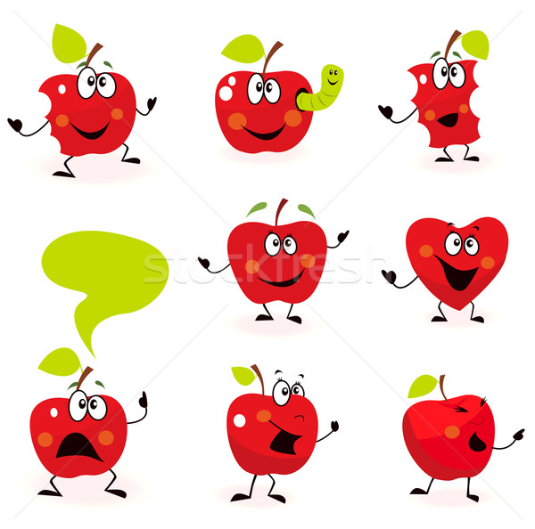 Funny Red Apple Fruit Characters Isolated On White Stock photo © lordalea