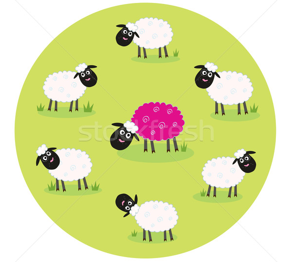 Stock photo: One Pink Sheep