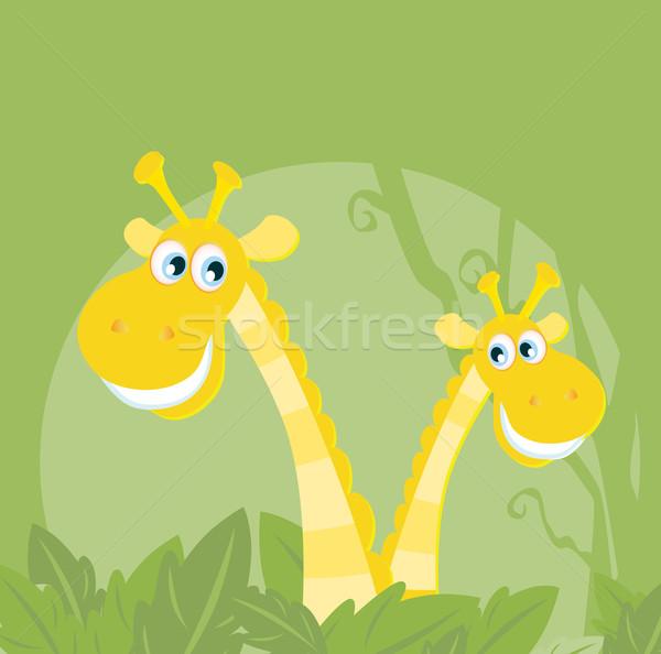 Photo stock: Drôle · animaux · jungle · girafe · famille · vecteur