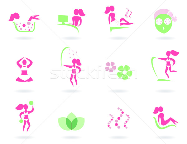 Spa, wellness & sport female icons ( pink and green ) Stock photo © lordalea