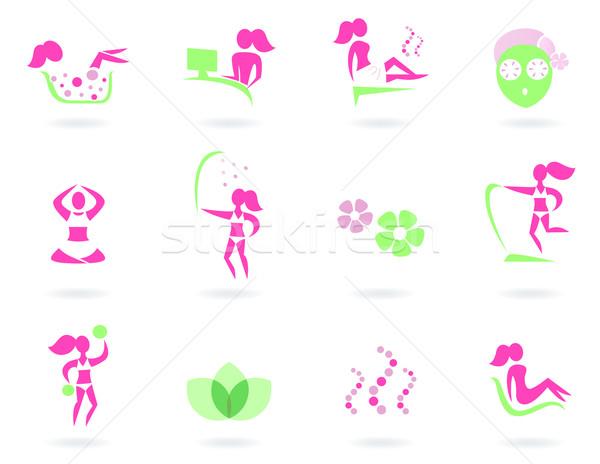 Stock fotó: Fürdő · wellness · sport · női · ikonok · rózsaszín