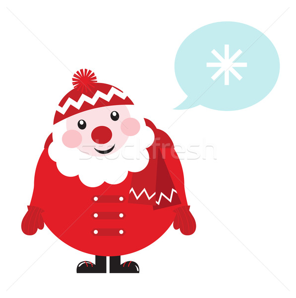 Cartoon retro Santa thinking about Winter - isolated on white 