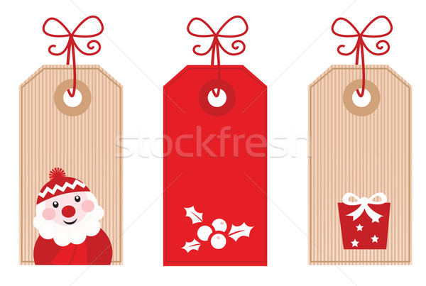 Stock photo: Retro Christmas Gift Tags or Labels ( red )