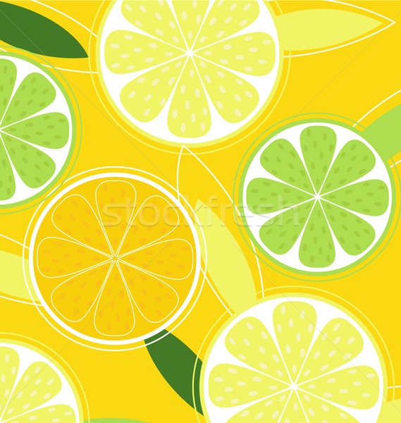 Citrus fruit vector citroen kalk oranje citrus Stockfoto © lordalea