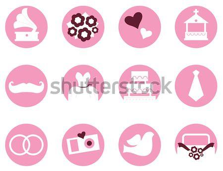Foto stock: Colección · amor · día · de · san · valentín · iconos · símbolos · rosa