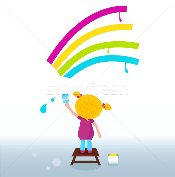 Peu artiste cute enfant peinture Rainbow Photo stock © lordalea