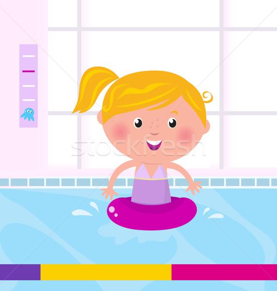 Bonitinho menina feliz natação água piscina criança Foto stock © lordalea
