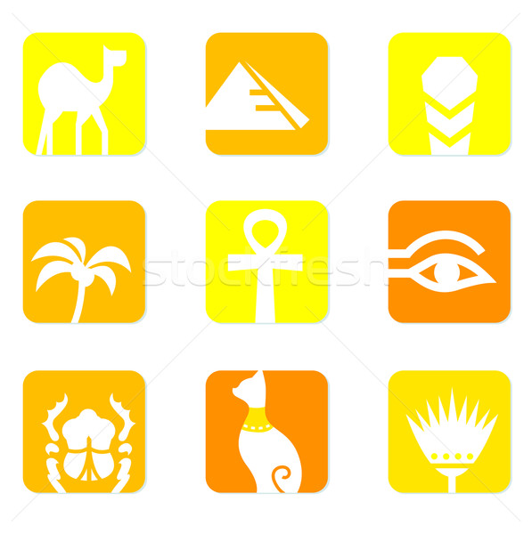 Egypt icons and design elements block isolated on white ( yellow Stock photo © lordalea