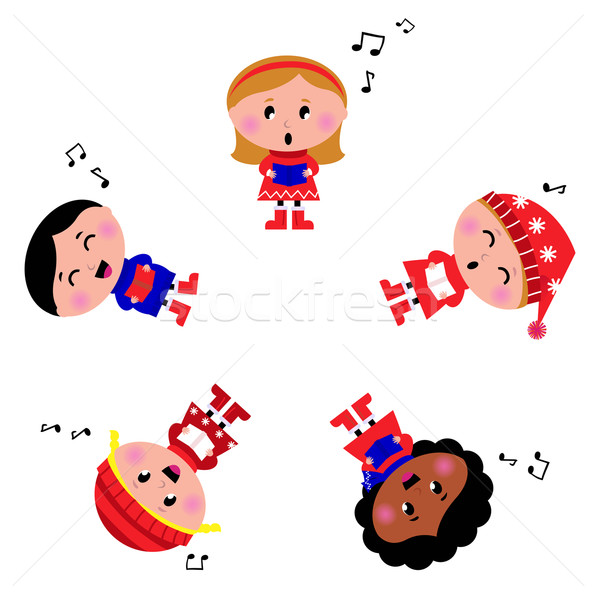 Winter kids singing Silent Night song. Cartoon Illustration. Stock photo © lordalea