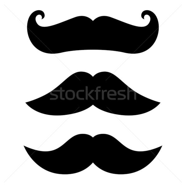 Retro zwarte snor ingesteld geïsoleerd witte Stockfoto © lordalea