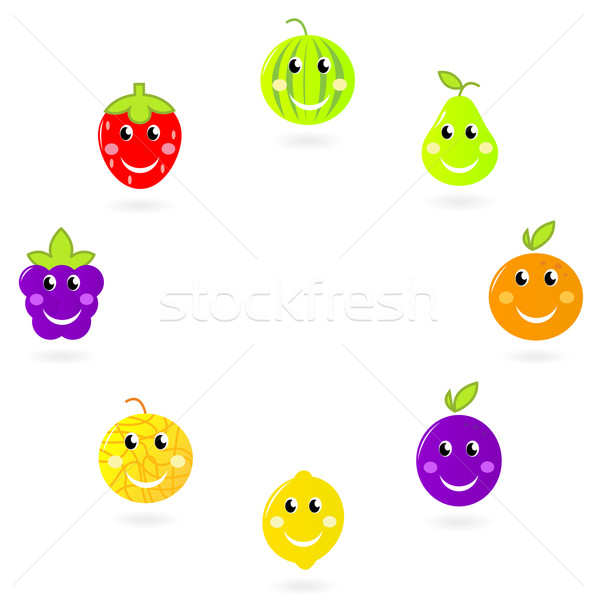 Fruit mascots / characters in circle isolated on white