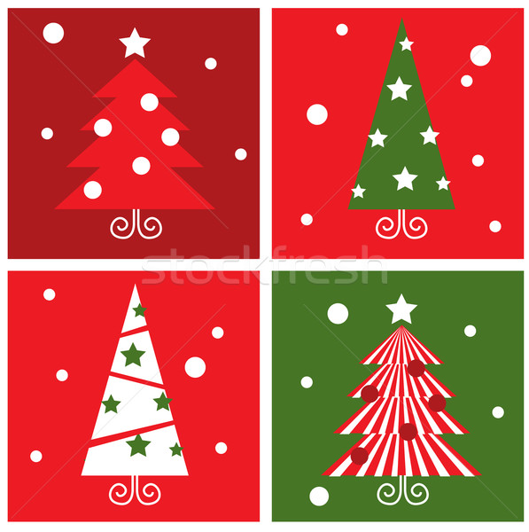 Winter Christmas Trees retro blocks collection - red & green Stock photo © lordalea