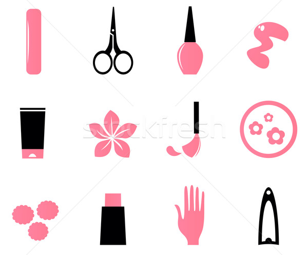 Manicure, cosmetics and beauty icons isolate on white ( pink, bl Stock photo © lordalea