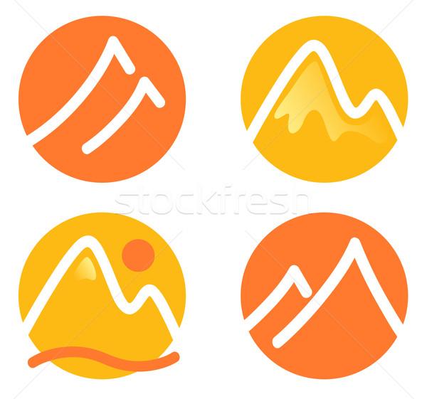 Mountain icons set isolated on white ( orange and yellow ) Stock photo © lordalea