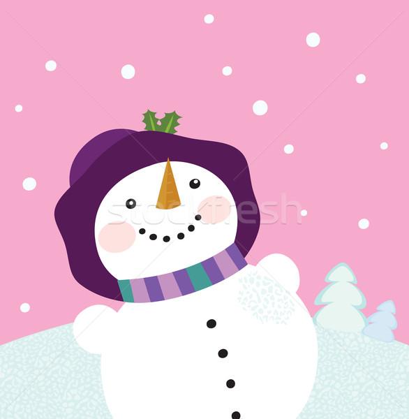 Inverno pupazzo di neve signora romance Natale Foto d'archivio © lordalea