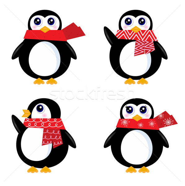 Christmas retro Penguin set isolated on white ( red ) Stock photo © lordalea