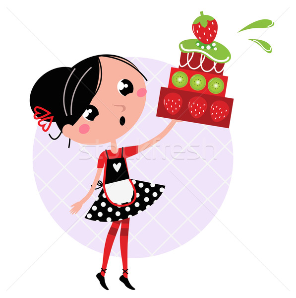 Retro kitchen Girl with big fruity Cake isolated on white Stock photo © lordalea