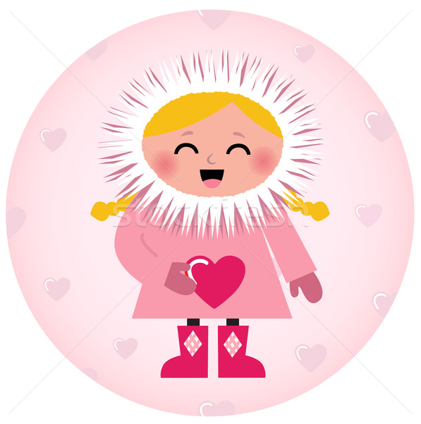 Cute Eskimo girl holding heart isolated on white Stock photo © lordalea