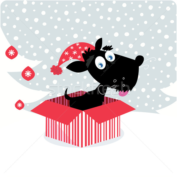 Christmas puppy dog in christmas gift Stock photo © lordalea