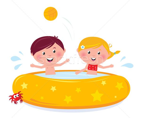 Foto stock: Little · girl · menino · piscina · isolado · feliz