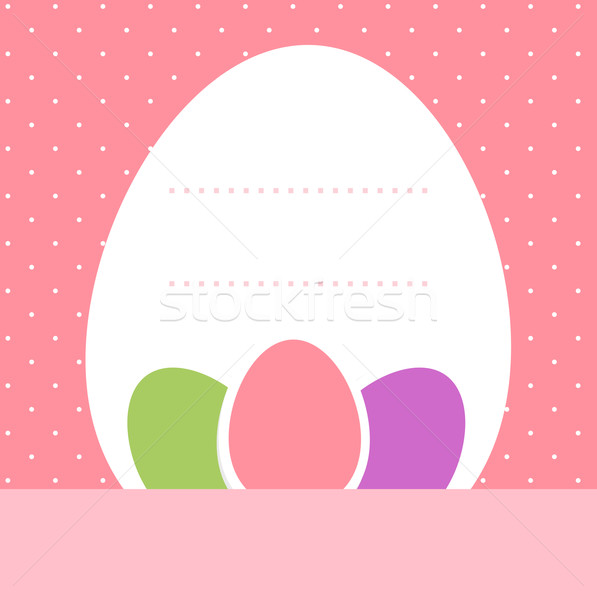 Pink dotted easter background with eggs and copyspace Stock photo © lordalea