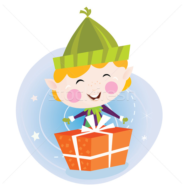 Small christmas elf with present Stock photo © lordalea