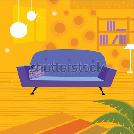 Retro living room in retro style Stock photo © lordalea