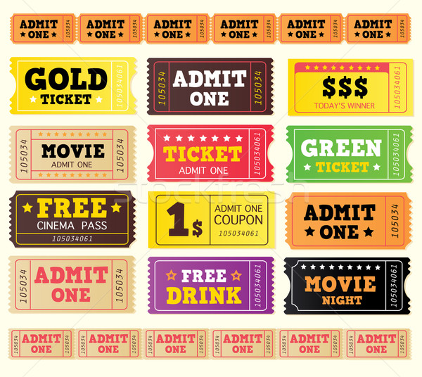Stock photo: Vintage Cinema Tickets. Big Collection