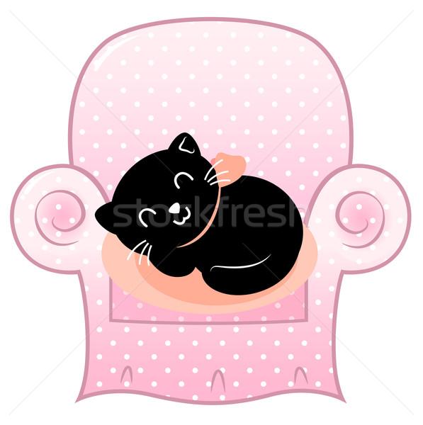 Сток-фото: Cute · спальный · кошки · розовый · диван · изолированный