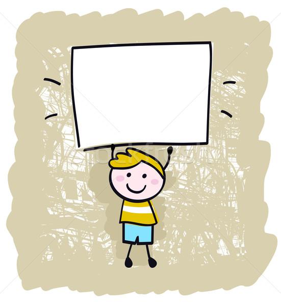 Stockfoto: Gelukkig · kid · jongen · banner · teken