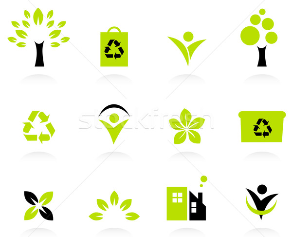 Ecology, nature and environment icons set isolated on white Stock photo © lordalea