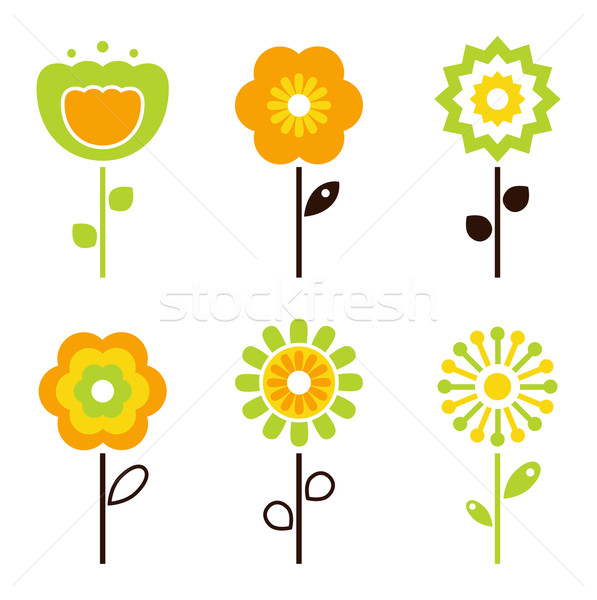 Stock photo: Set of retro flower elements for easter / spring