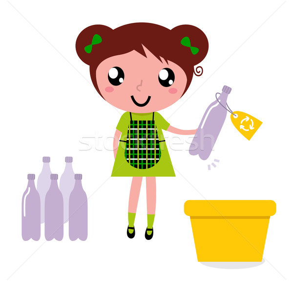 Cute girl recycle garbage into recycling bin Stock photo © lordalea