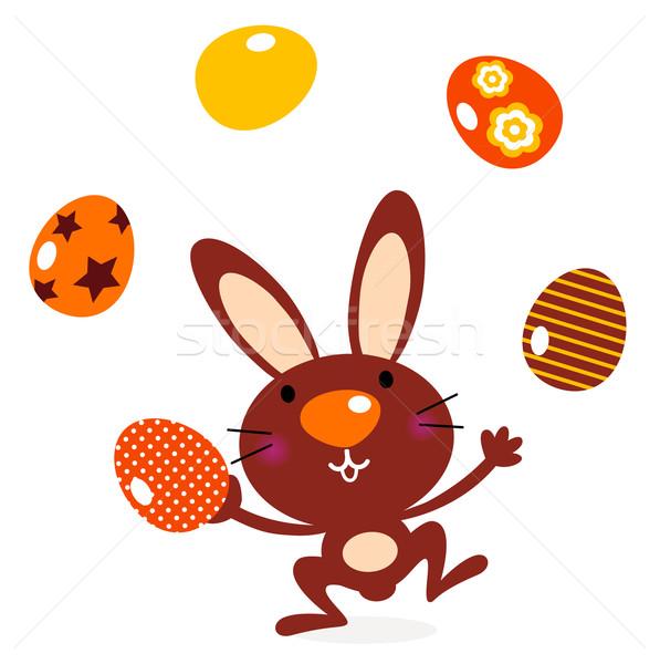 Cute springen bunny jongleren eieren bruin Stockfoto © lordalea