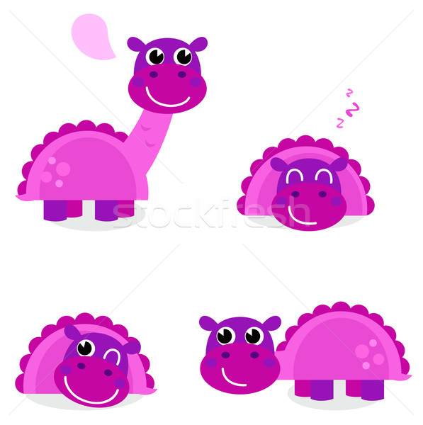 Cute pink dinosaur set isolated on white Stock photo © lordalea