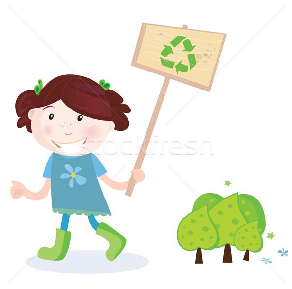 Stock fotó: Iskolás · lány · támogatás · újrahasznosítás · jó · út · mentés