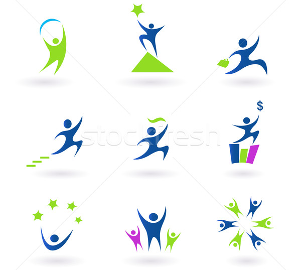Collection Of Human Business, Success And Money Icons Stock photo © lordalea