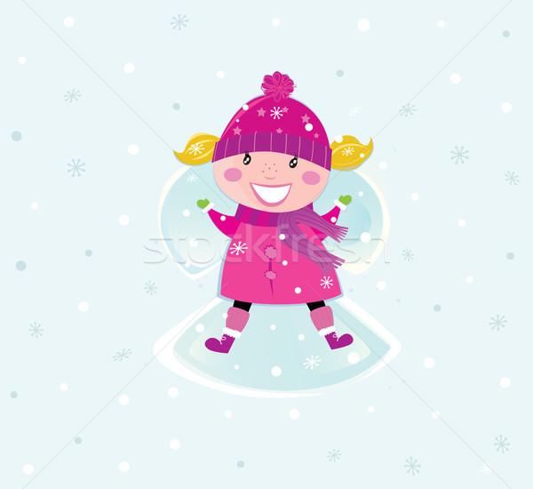 Рождества девушки розовый костюм снега Сток-фото © lordalea