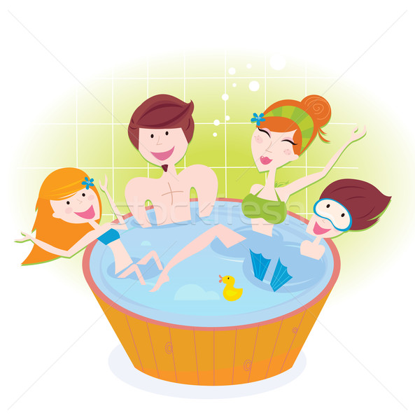 Happy family with two children in whirlpool bath   Stock photo © lordalea