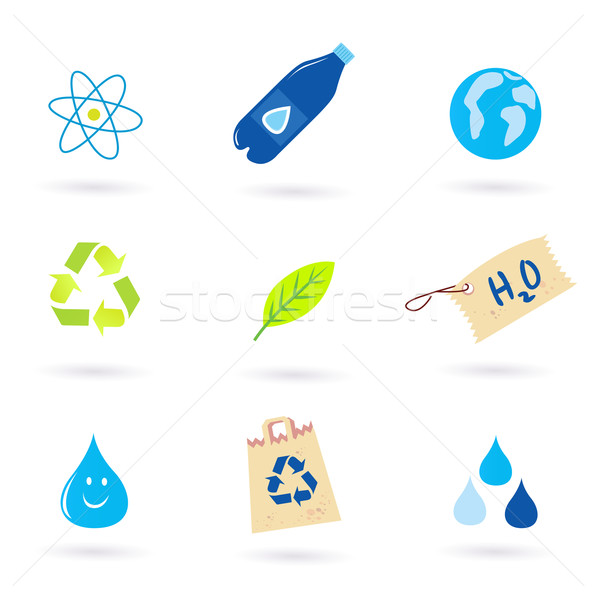 Recycle, water and nature icons isolated on white