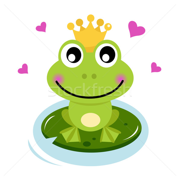 Stock photo: Cute Frog prince with hearts
