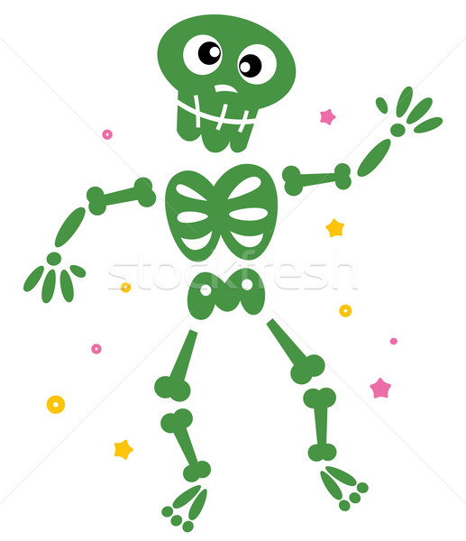 Stock photo: Cute dancing green skeleton isolated on white