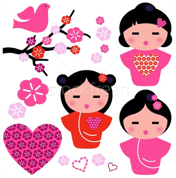 Stock fotó: Japán · szeretet · gésa · virágmintás · elemek · szett