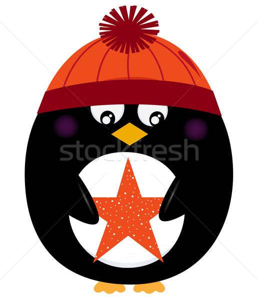 Winter penguin holding christmas star vector Stock photo © lordalea