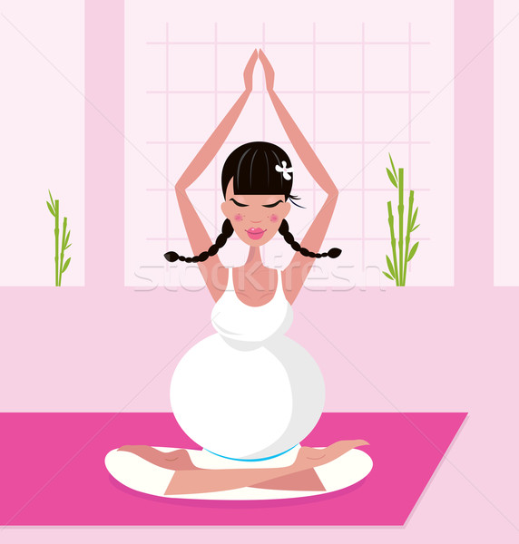 Pregnant woman practicing lotus asana sitting on pink yoga  Stock photo © lordalea