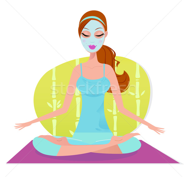 Beautiful woman with facial mask sitting on yoga mat and meditat Stock photo © lordalea